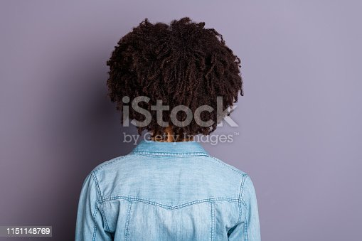 Close up back rear behind view photo of cool smart successful millennial stand behind show shoulders feel glad content relaxed dressed denim fashionable clothes isolated grey background.