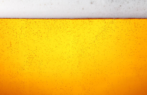 Close up background of beer with bubbles in glass Close up background texture of lager beer with bubbles and froth in glass, low angle side view lager stock pictures, royalty-free photos & images