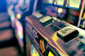 close up background of slot machine in casino club entertainment  leisure concept