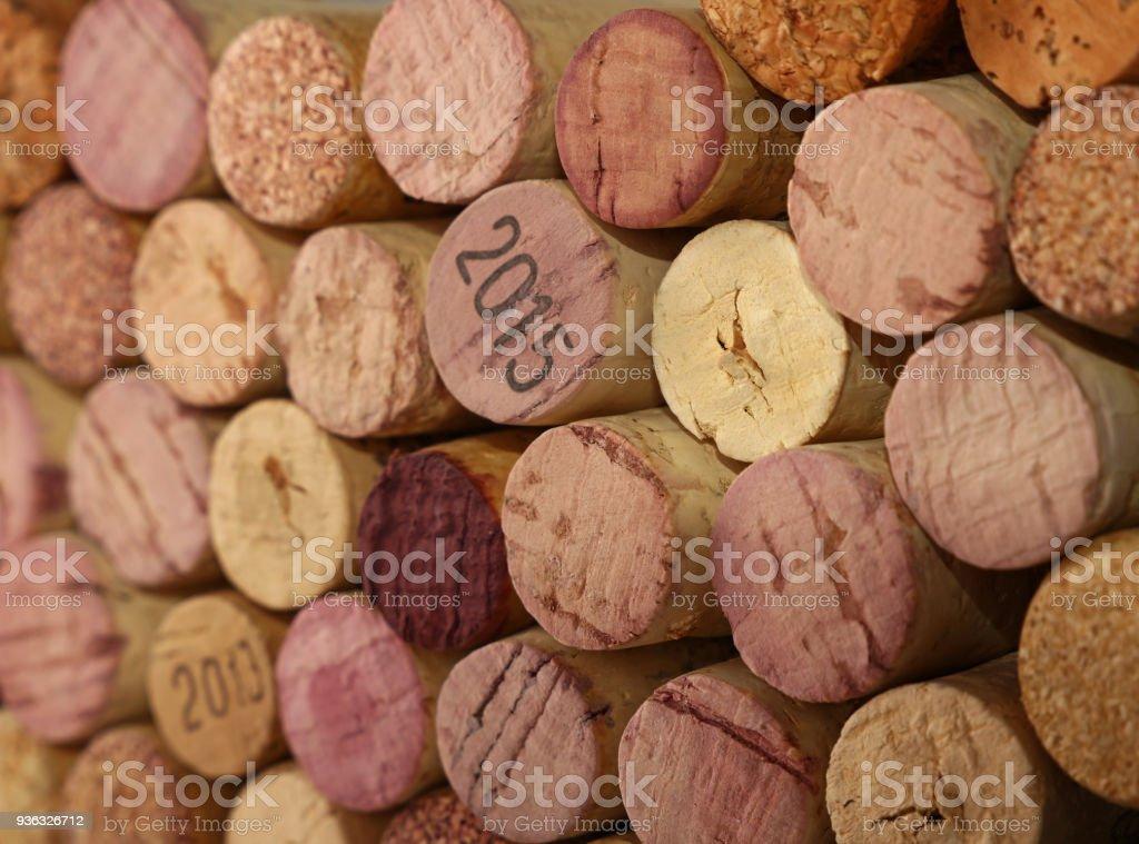 Bouchent fond de bouchons de vin utilisés - Photo