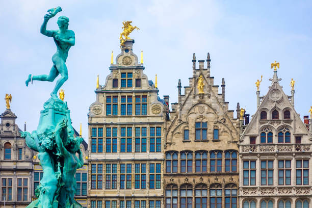 Close up Barbo fountain and guild houses in Antwerp, Belgium stock photo