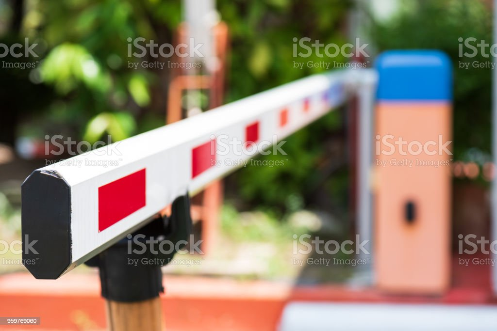 Close up Barrier Gate Automatic system for security. Automatic entry system. stock photo