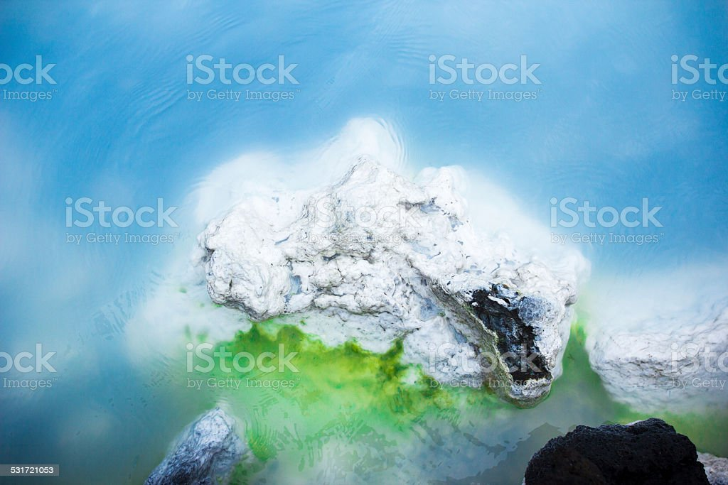 Close up basalt lava rock with silica deposit in Iceland stock photo
