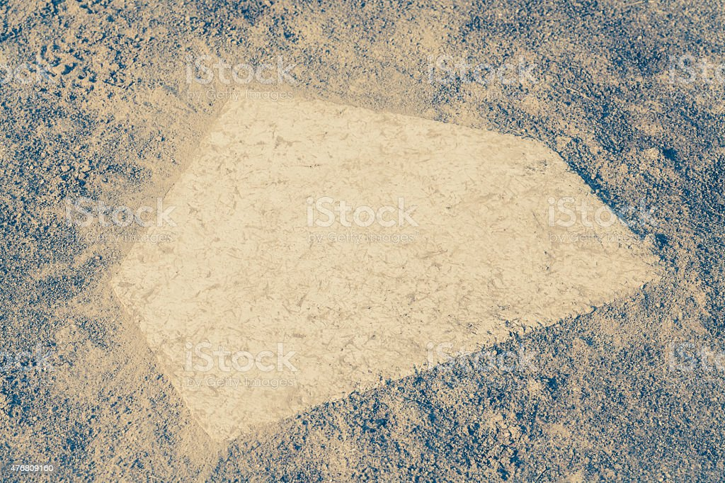 close - up Baseball homeplate from baseball field stock photo