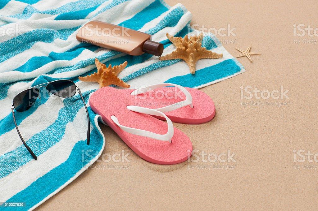 Close up beach accessories. stock photo
