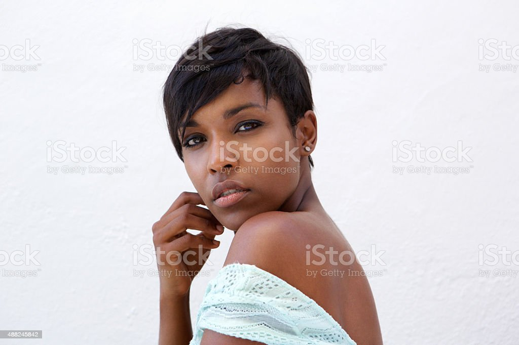 Close up beautiful african american fashion model with short hair stock photo