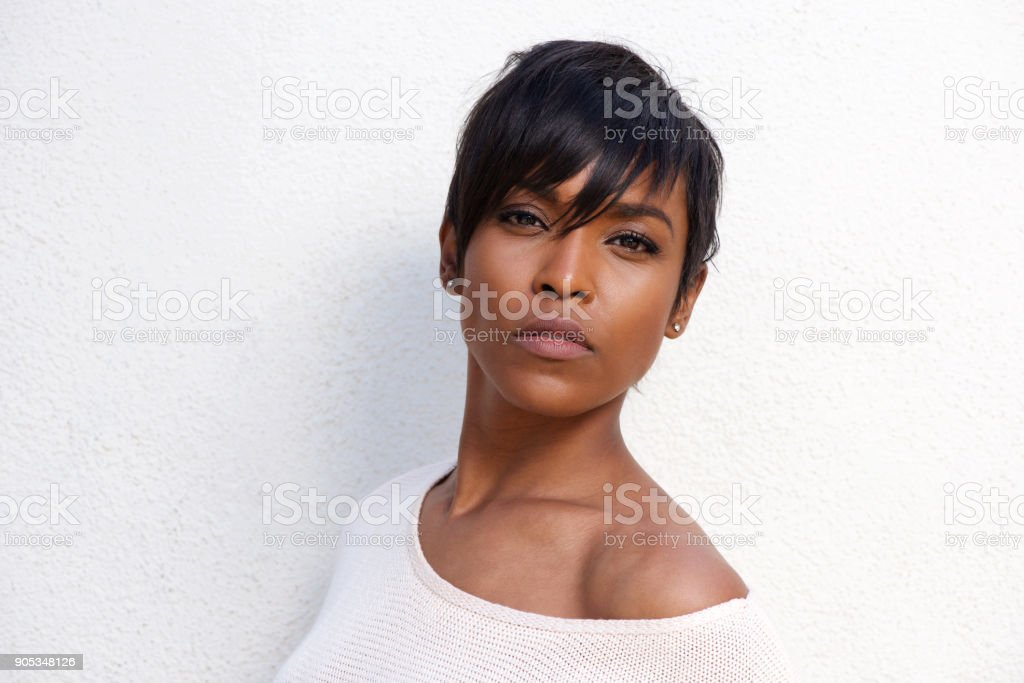 Close up beautiful african american female model with modern hairstyle stock photo