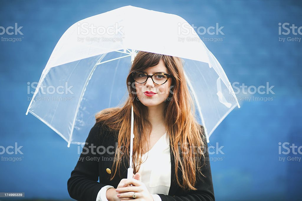 Close Up Beautiful Urban Hipster Blue Wall Portrait royalty-free stock photo