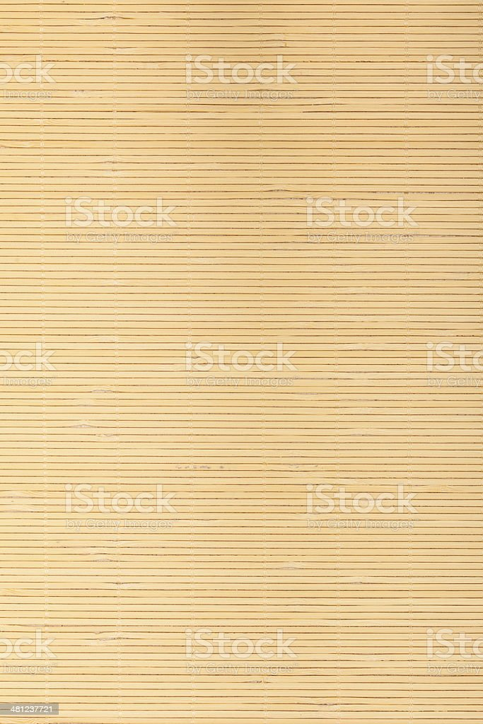 Close up beige brown bamboo mat striped background texture pattern stock photo