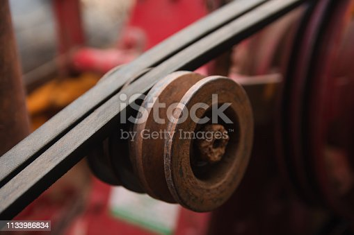 841283930 istock photo Close up belt and pulley on the motor 1133986834