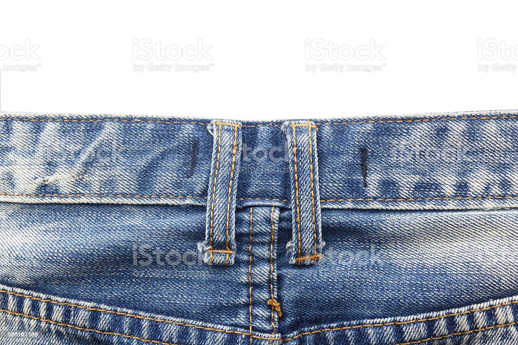 Close up belt loops on jeans isolated on white background stock photo