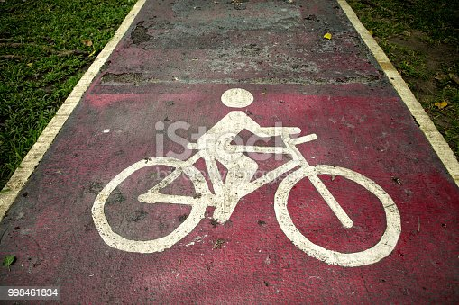 Conceptual image of close up bicycle sign on public park road