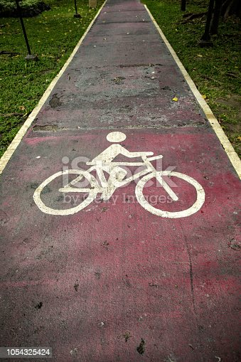 Close up bicycle route sign on public park road in Bangkok, Thailand