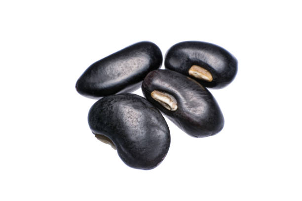 Close up black beans isolated on white background stock photo