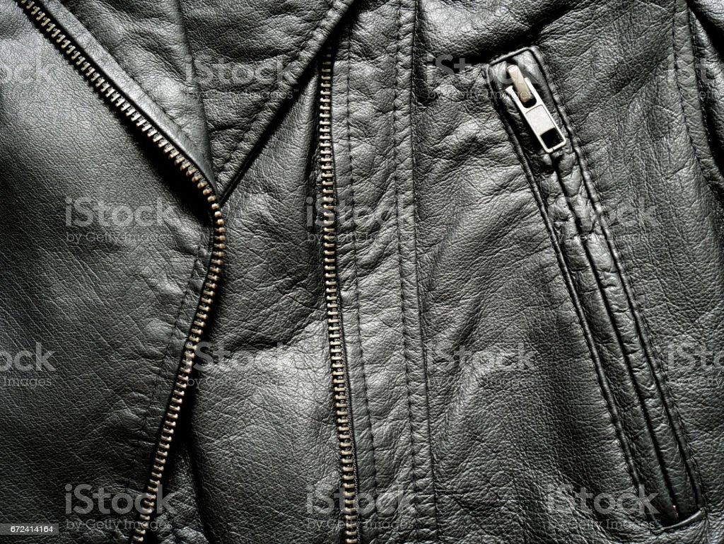 Close up black leather jacket stock photo