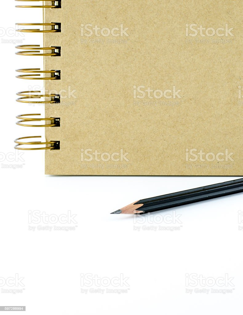 Close up black pencil with ring binder notebook royalty-free stock photo