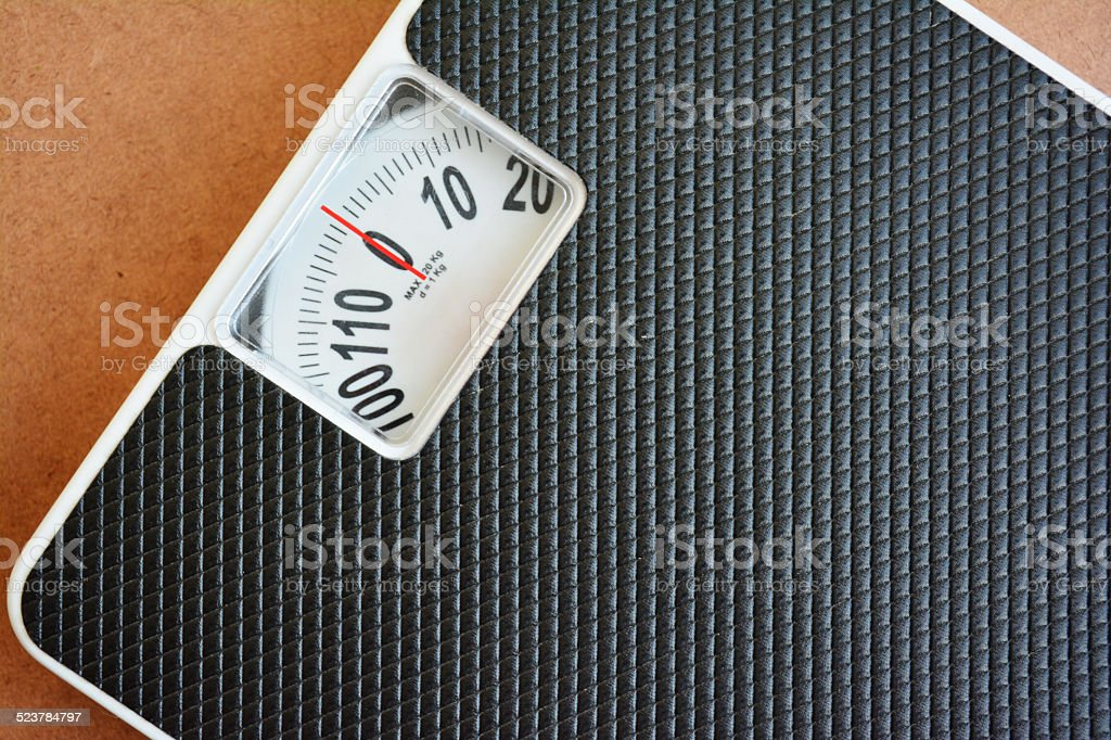 Close up black weight scale. stock photo