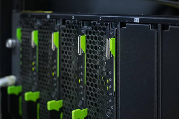 Close up blade server stock photo