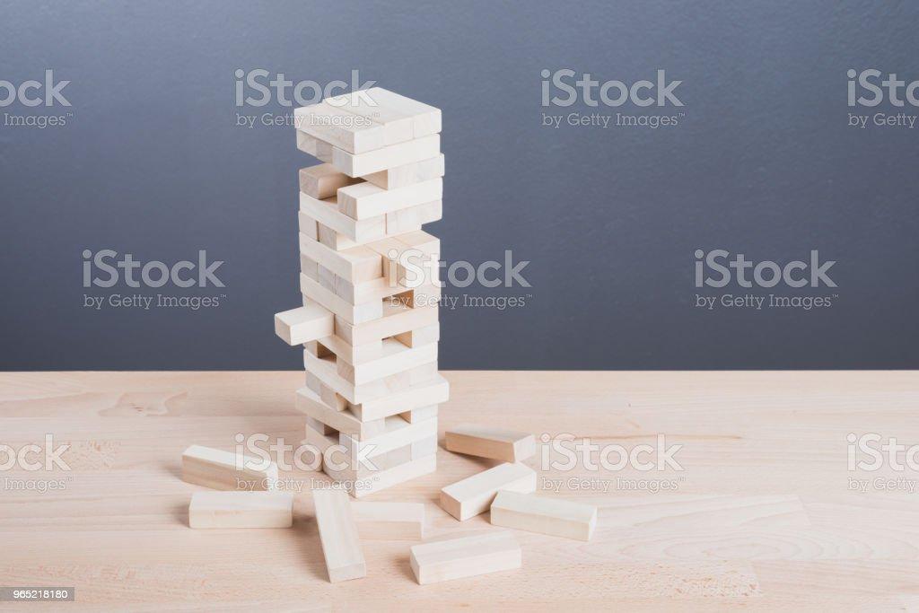 Close up blocks wood game on wooden table background. zbiór zdjęć royalty-free