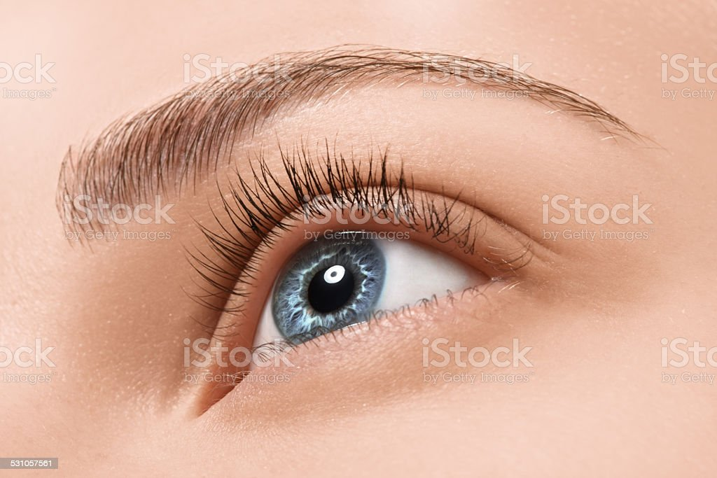 Close up blue eye with makeup stock photo