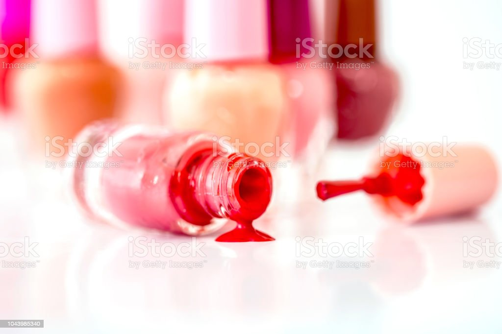 Close up bottles of color bright fashion polish , cosmetics and...
