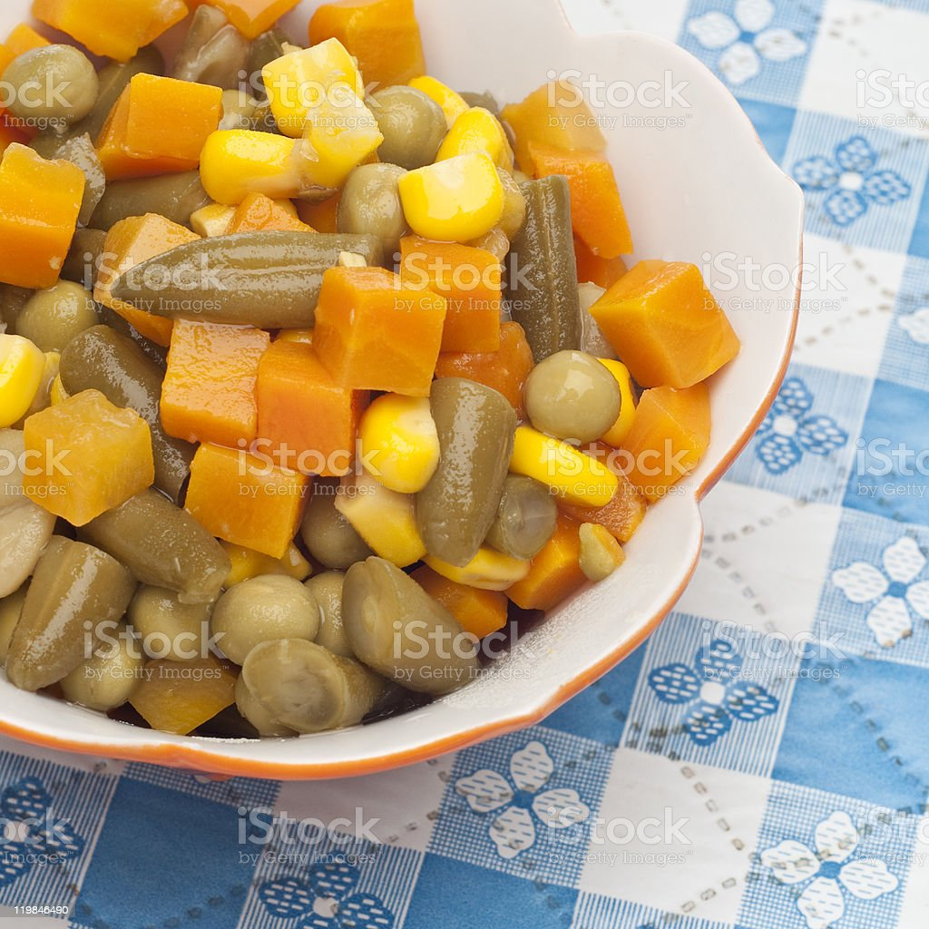 Close Up Bowl of Canned Mixed Vegetables royalty-free stock photo