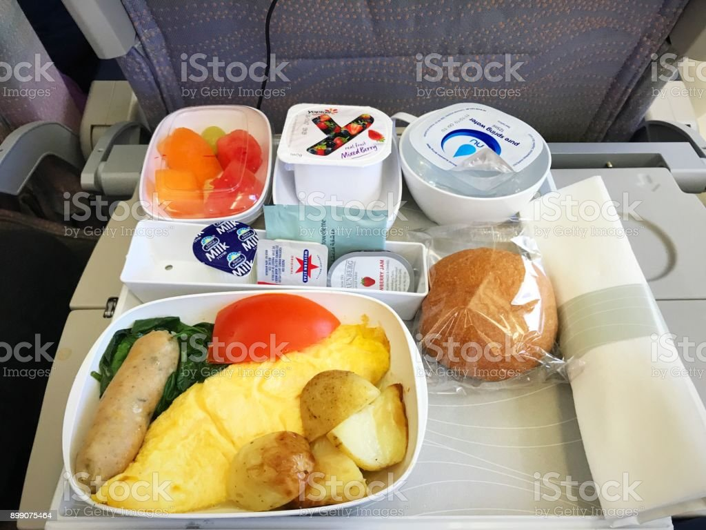 Close up breakfast tray on board the flight to Sydney, Australia stock photo