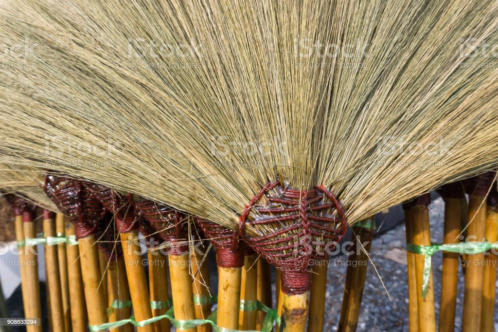 Close up brooms for selling in Thailand stock photo