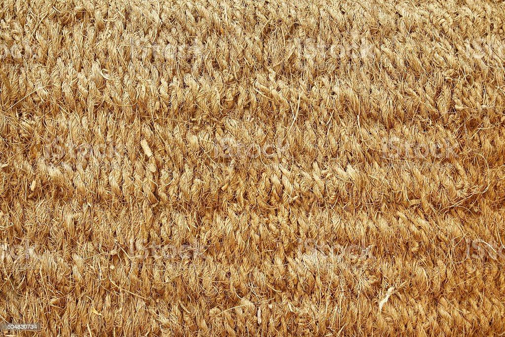 Close up brown color coconut fiber mat texture stock photo