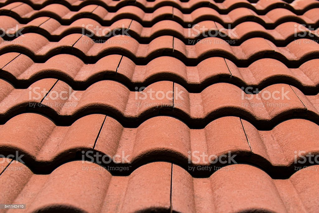 Close up Brown Roof Tile at home stock photo