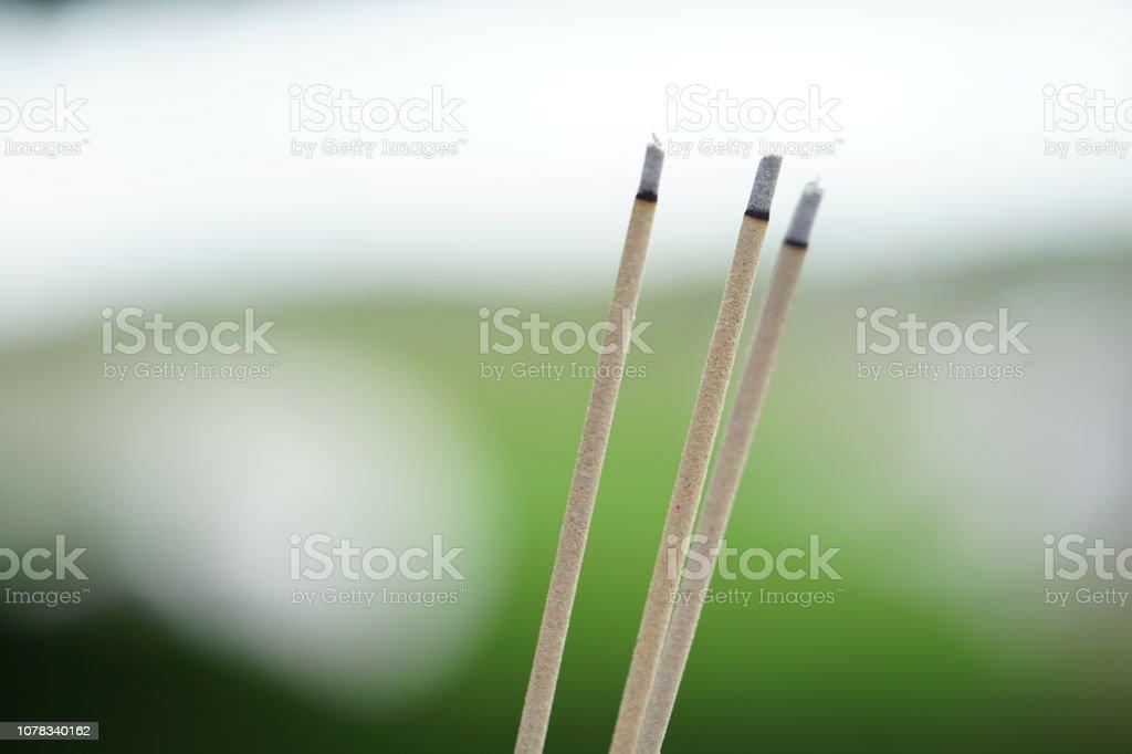 Close Up Burning Incense Sticks In Bokeh Background Worship