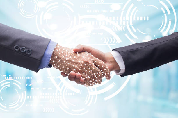 close up business man handshake with business artificial intelligence (ai) on motion blur background with virtual interface hologram programming for future technology concept - bancarella foto e immagini stock