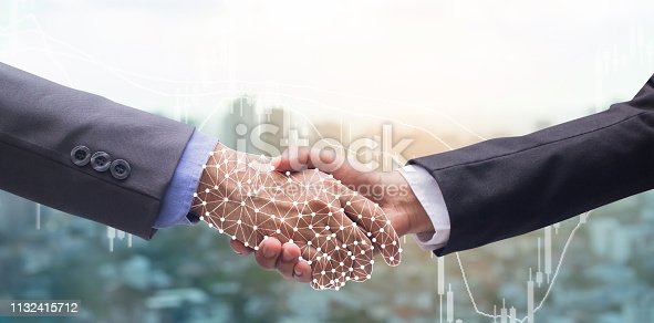 istock close up business man handshake with business robot virtual interface hologram connect of artificial intelligence (AI) on motion blur city metropolis background with double exposure of stock trading board and for future technology concept 1132415712