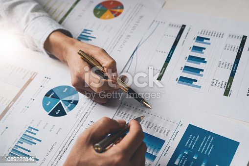 istock Close up Business people meeting to discuss the situation on the market. Business Financial Concept 1089222846