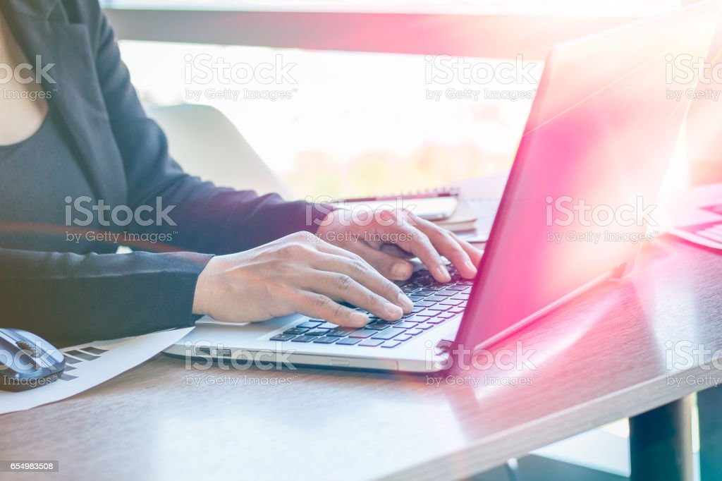 Close Up businessmen working at a coffee shop stock photo