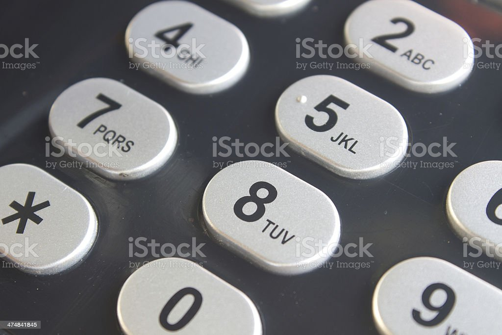 close up button on  desk phone stock photo