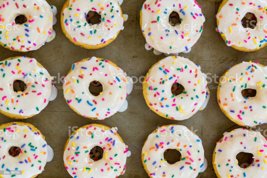 Close Up Cake Donuts With Sprinkles stock photo