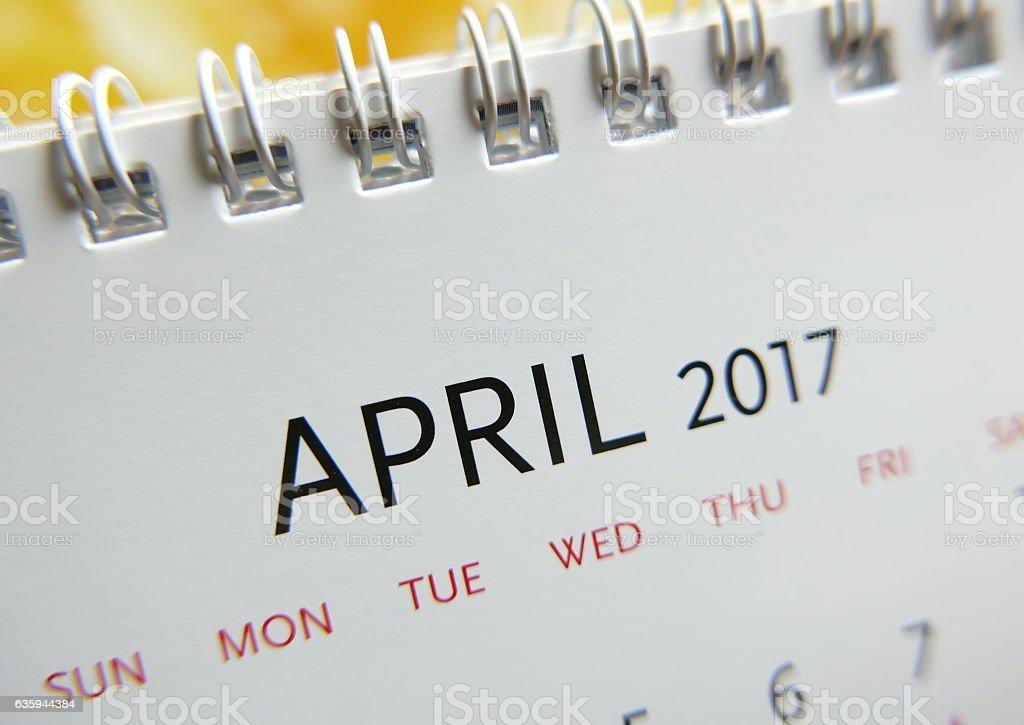 Close up calendar of April 2017 stock photo