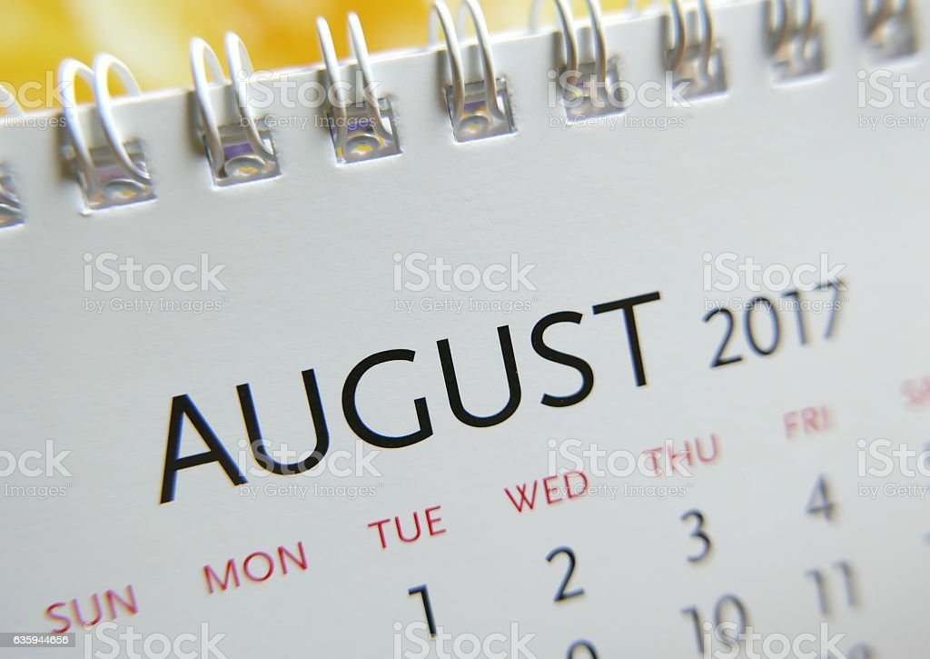 Close up calendar of August 2017 - foto stock