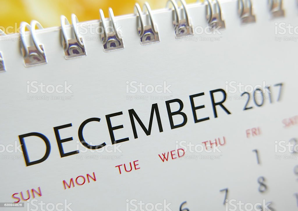 Close up calendar of December 2017 stock photo