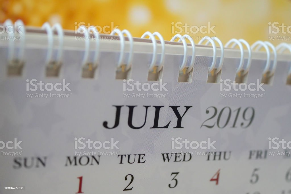 Close up calendar of July 2019 stock photo