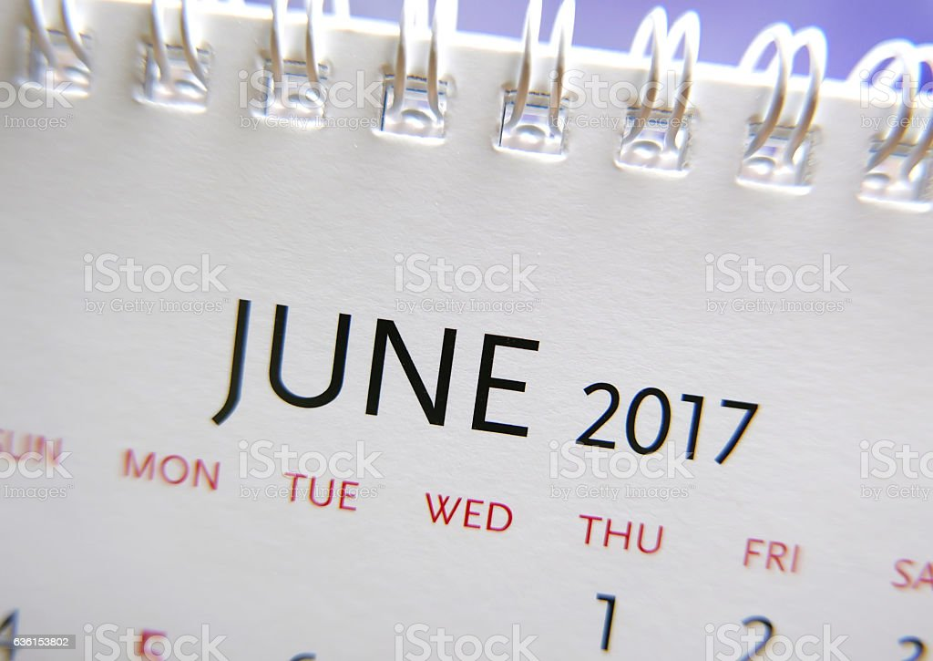 Close up calendar of June 2017 stock photo