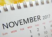 Close up calendar of November 2017