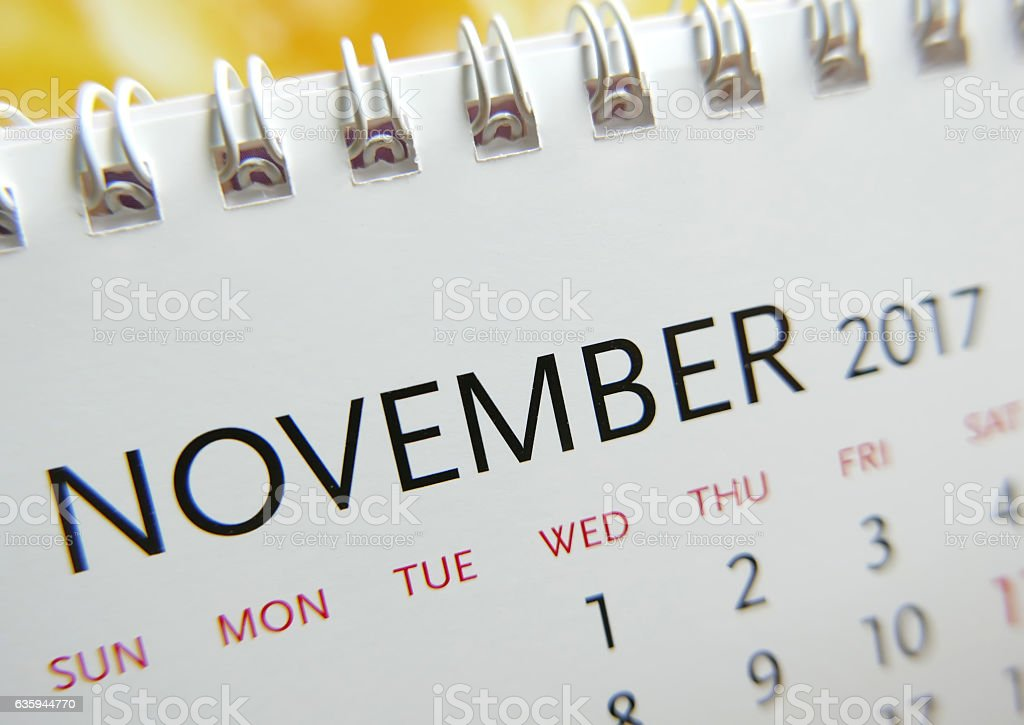 Close up calendar of November 2017 stock photo