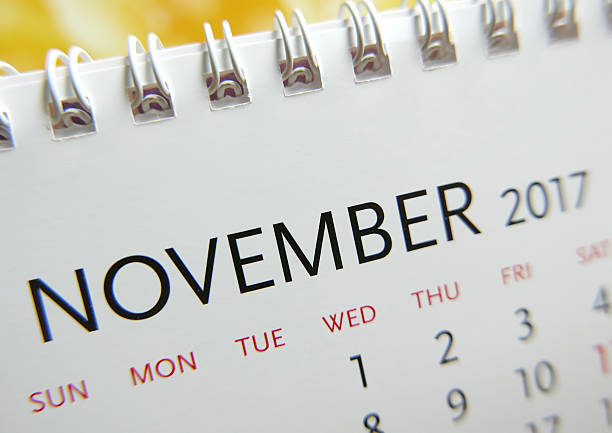 Close up calendar of November 2017 stock photo
