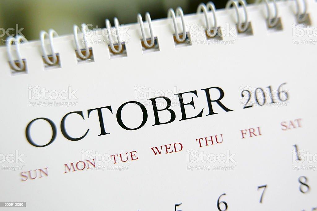 Close up calendar of October 2016 stock photo