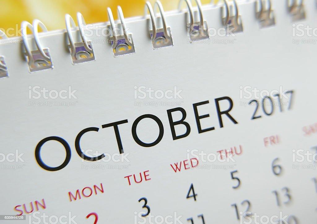 Close up calendar of October 2017 stock photo