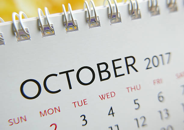 Close up calendar of October 2017 stock photo