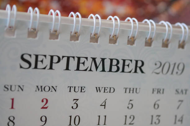 close up calendar of september 2019 - september stock photos and pictures
