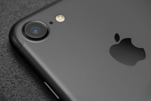 Close Up Camera Lens View Iphone 7 Black Color - Fotografie stock e altre immagini di Acqua